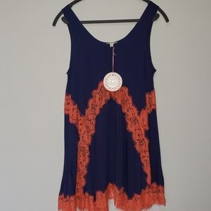 Umgee navy and orange lace, sleeveless dress